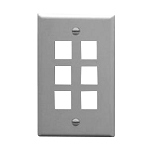ICC IC107 Textured ABS Flush Mount Flat Wall Plate, 1-Gang, Gray, (6) Port, 2-3/4 Inch W X 4-1/2 Inch H