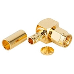 (132235RP)  Amphenol RF Gold Brass Right Angle Reverse Polarity SMA Male Connector For LMR-240 Group C2 Cable