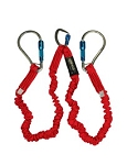 (35716)  Elk River Flex-NoPac® Energy-Absorbing 2 Leg Web Lanyard with Center Aluminum Carabiner, 6 ft L X 1-1/2 Inch W, Red