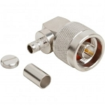 (172219)  Amphenol RF White Brass Standard Polarized Right Angle N-Type Crimp Plug For LMR-240 Group G2 Cable